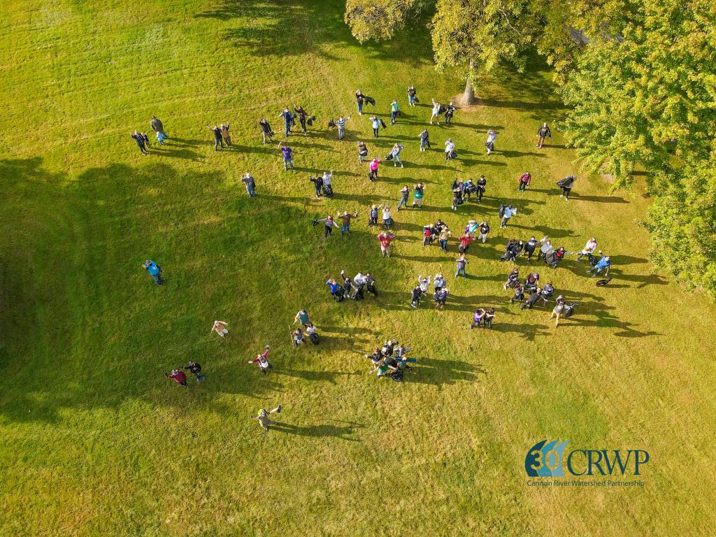 Aerial view of volunteers on a grassy lawn