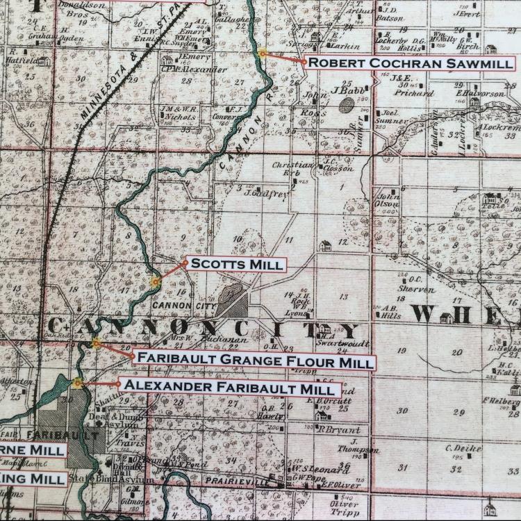 Historic map detailing the Scotts Mill, Faribault Grange Flour Mill, and the Alexander Faribault Mill