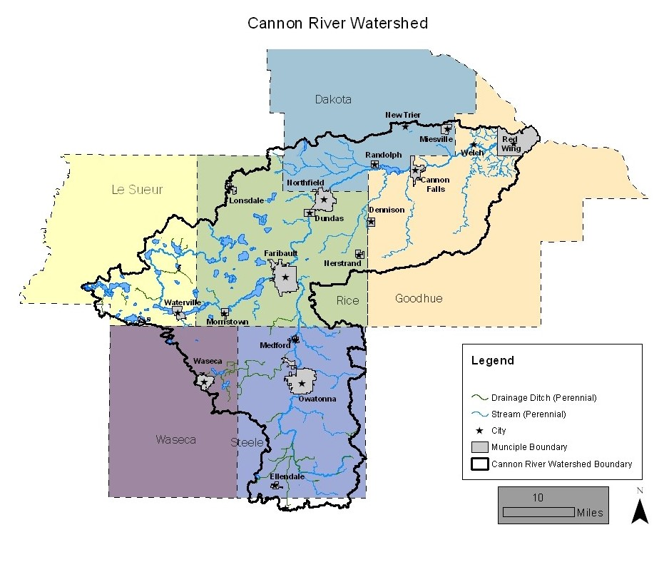 Map of the Cannon River Watershed